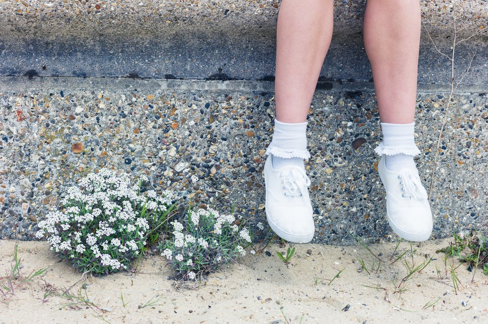 Girl Feet White Shoes Stone Wall - Teen Rehab
