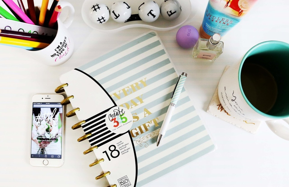 Pens Pencils Notebook Mug Phone On Desk - Teen Rehab