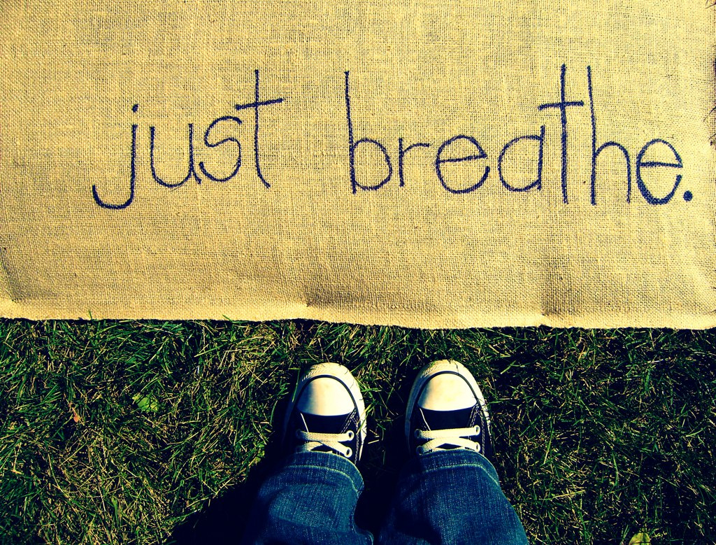 just breathe sign glass shoes jeans denim