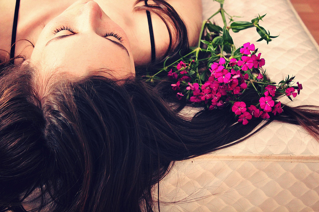 woman relax flowers