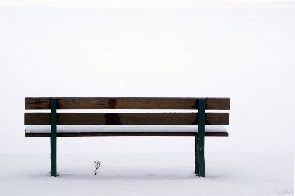 wood bench winter snow white