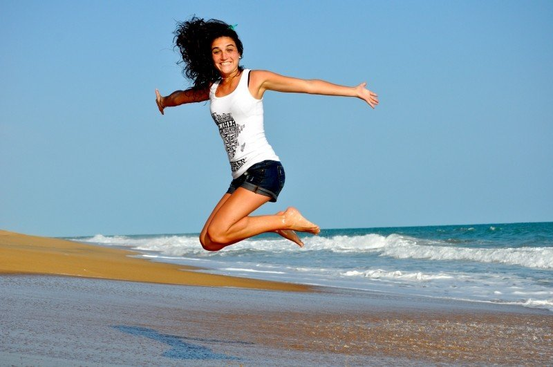 girl jump fitness health beach