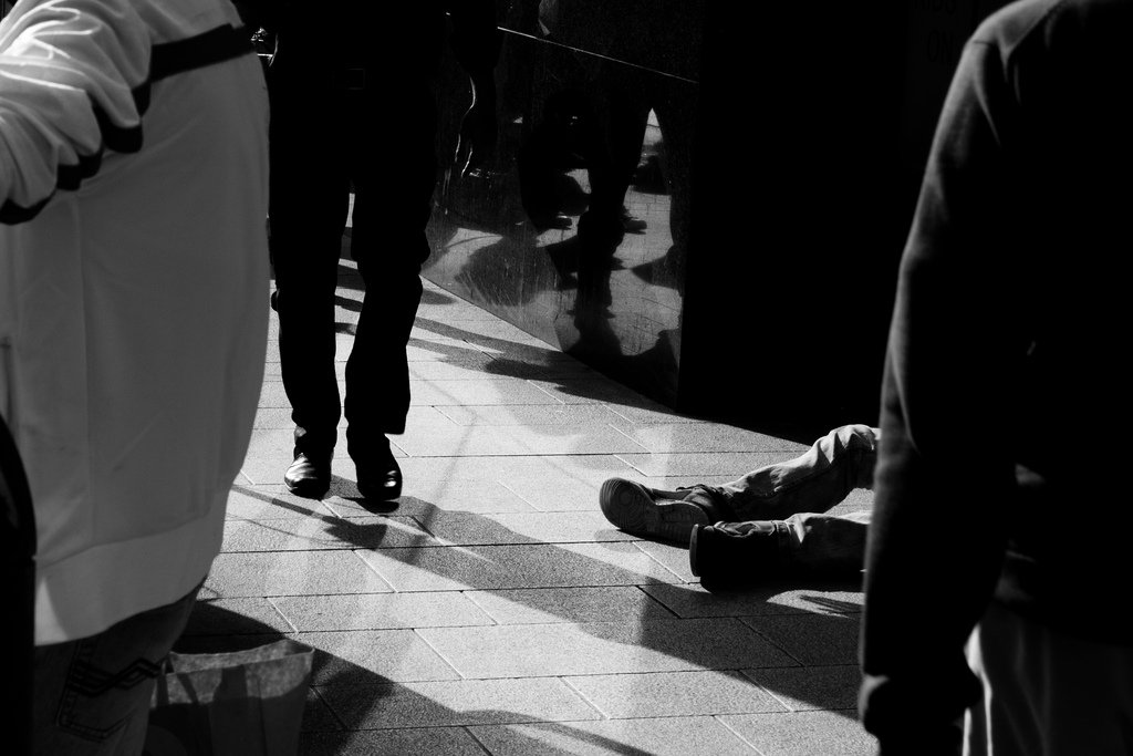 people street shadows black white