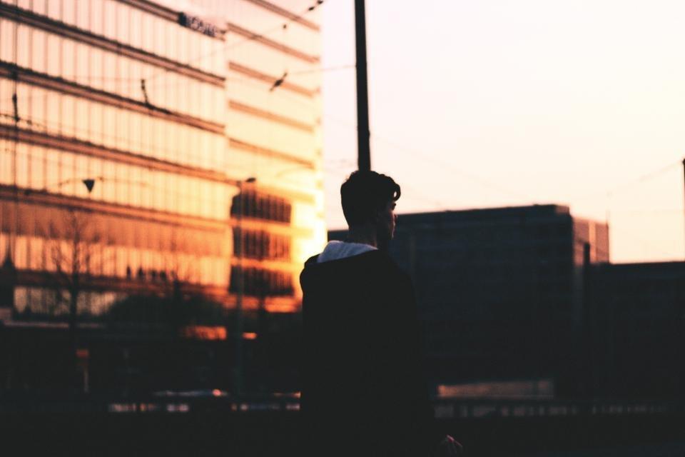 man city sunset dusk reflection