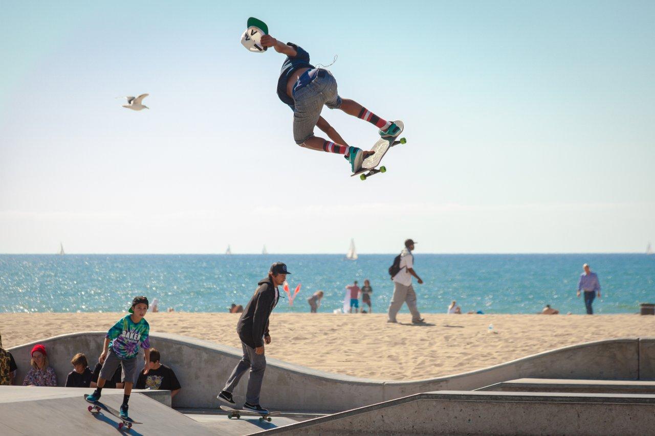 Teens Skateboarding
