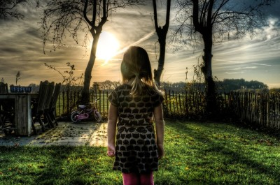 child girl garden yard sunset