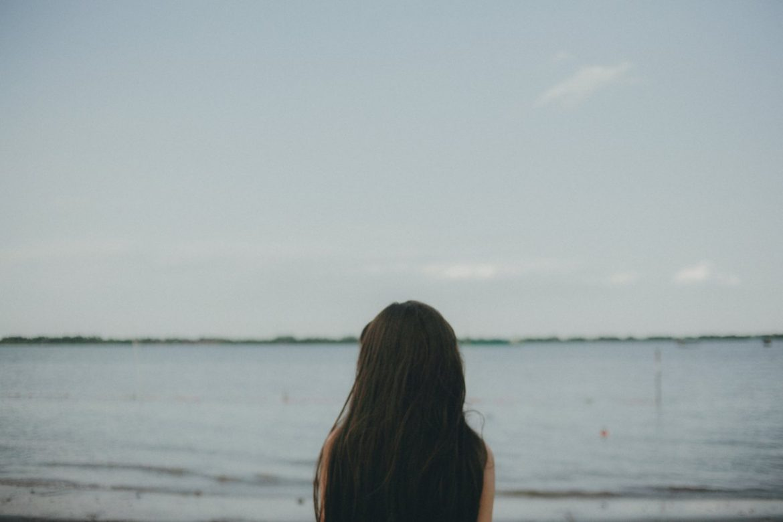 teen girl hair ocean