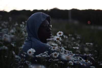 man field flowers shadow