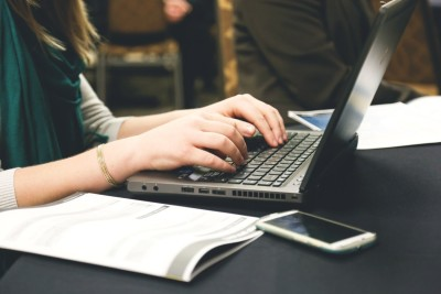 woman hands laptop keyboard