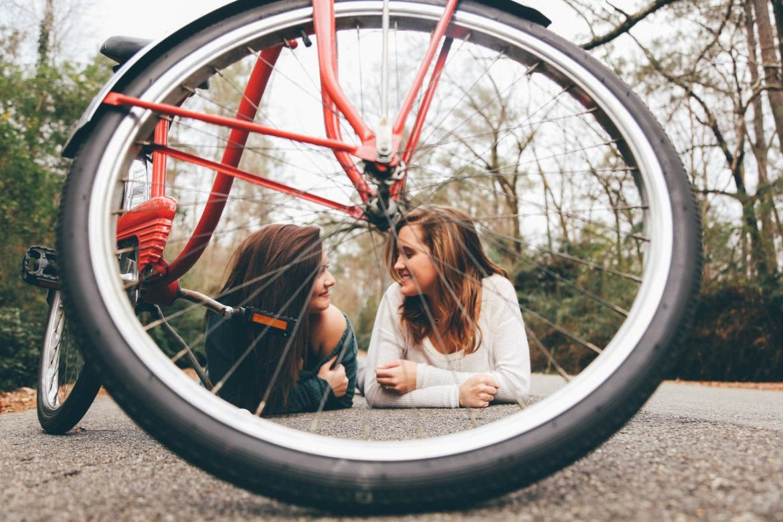 girls teens bicycle bike wheel