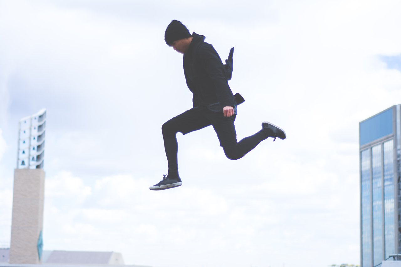 teen taking a leap