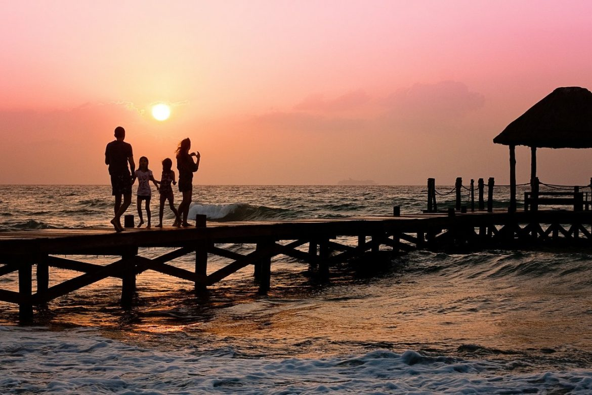 family pier beach sunset