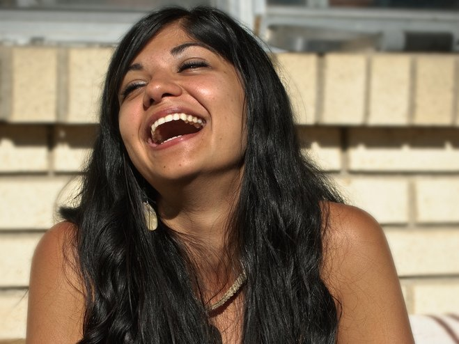 girl woman laughing