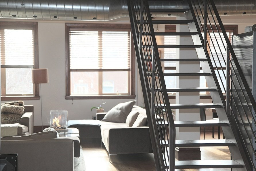 Loft-style furnishings transitional living home