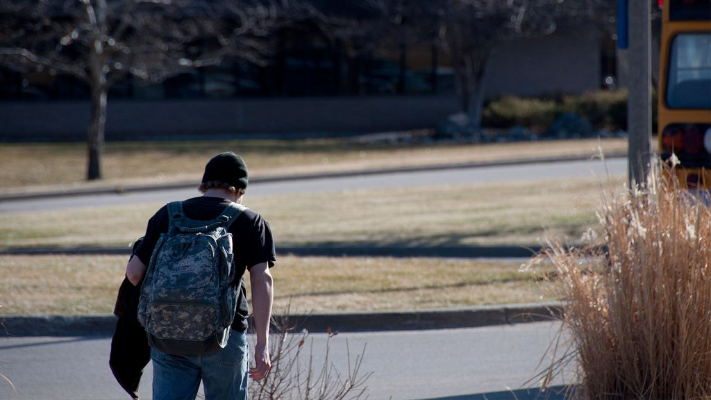 teen boy walking