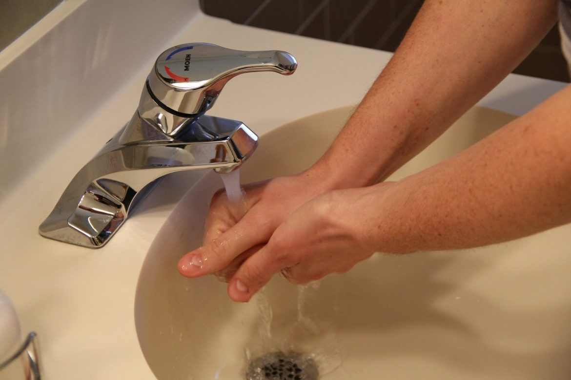 washing hands sink