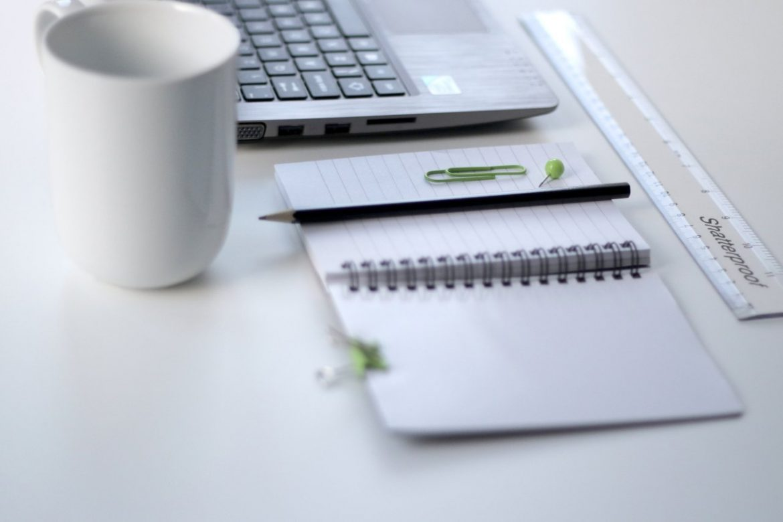 laptop notepad pencil mug