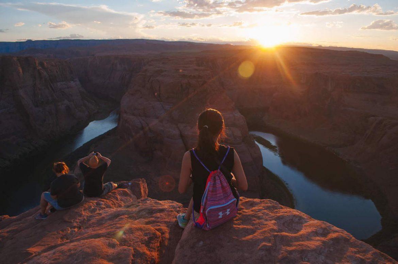 sunrise hiking teen girl